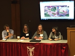 From left to right: Hayden Shaw, Sadie Ritchie, Katina Reedy, Lisa Hensell presenting their HIST 661 digital history research at the 19th Annual Ball State University Student History Conference on February 26, 2016.